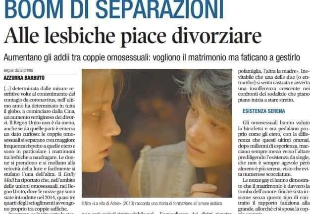 """Lo schifo di Libero che titola """"Alle lesbiche piace divorziare"""""""